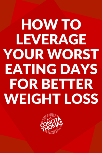 How to Leverage Your Worst Eating Days for Better Weight Loss Results: You know how to lose weight eating typical diet foods but do you know how to leverage your worst eating days to still get results? Click through to the blog post to learn specific strategies improve your weight loss results on your worst eating days. Weight Loss, Nutrition, Clean Eating