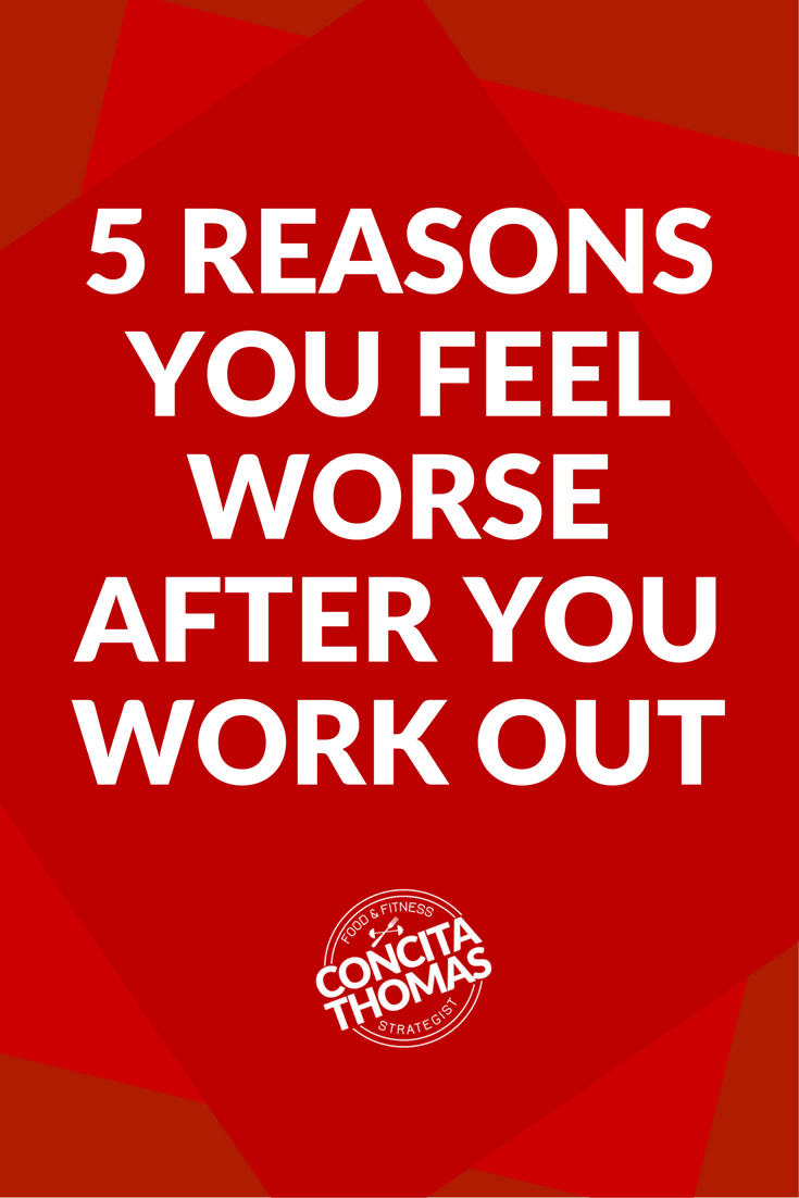 5 Reasons You Feel Worse After You Work Out: Everyone talks about how much energy they get from working out but you feel worse after your workouts. Before you write them off as big ole liars, click through and read why you feel worse rather than better after your workouts. workouts, post-workout