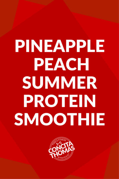 Pineapple – Peach Summer Protein Smoothie: Click through to get one of my favorite summer protein smoothie recipes.